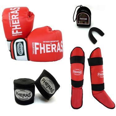 Kit Boxe Muay Thai Oríon Luva Bandagem Caneleira Bucal 14 OZ