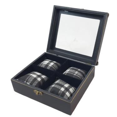 caixa porta relógio de pulso masculino em mdf para gaveta  - preto para 4 relógios