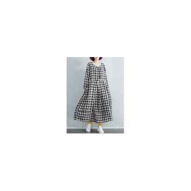 Vestido longo feminino de manga comprida de algodão xadrez longo maxi