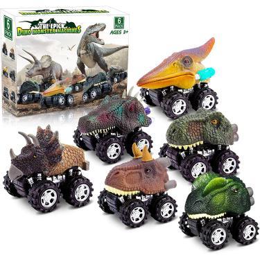 Imagem de Brinquedos de Dinossauro 6 pack - puxar carro de dinossauro para trás, pacote conjunto brinquedos de carro para meninos, presentes de aniversário de Natal para crianças 2,3,4,5,6 anos meninas meninos de idade