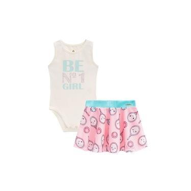 Conjunto Infantil Menina Body Cotton e Saia em Malha Creme