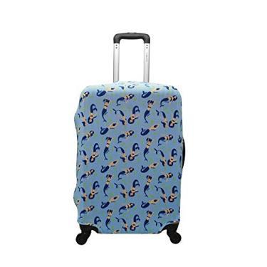 Capa de Mala Proteção Viagem Grande Elastano Sereia azul
