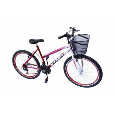 Bicicleta Aro 26 Wendy Fem C/Aero 18V,Pneu Slik Cor Vermelho