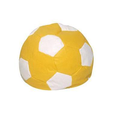 e96bbba3db Puff Infantil Bola de Futebol em Courino - Amarelo e Branco - Stay Puff