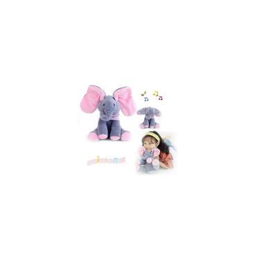 Imagem de Peek A Boo Elefante Animado Musical Canta Orelha Pelúcia Elefante de Pelucia Elétrico de Pelúcia Brinquedo Bonito Brinquedo Interativo Presente Aniversário Para Bebê Criança 30 cm