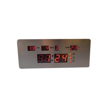 Imagem de Relógio Parede ou Mesa Digital Led Termômetro Calendário 4 Alarmes Inox RD170702