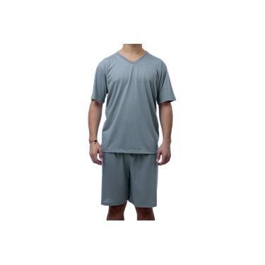 Pijama Adulto Masculino Camisa E Short Cinza Gola V