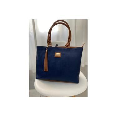Bolsa Feminina Luxo Azul Com Caramelo