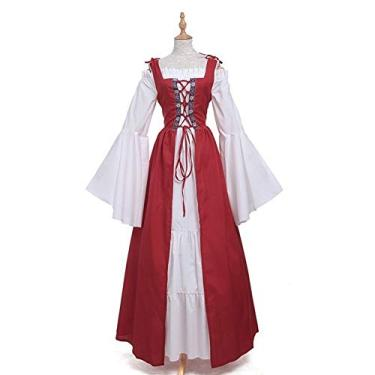 soAR9opeoF Women's Casual Maxi Dress Women's Vintage Cocktail Party Swing Dress,Vintage Women Medieval Square Neck Slim Waist Lace Bandage Maxi Dress Costume Red XL