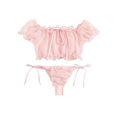 Avanova Conjunto de lingerie sexy feminina, conjunto de sutiã e calcinha de malha com acabamento de babados, rosa, XL