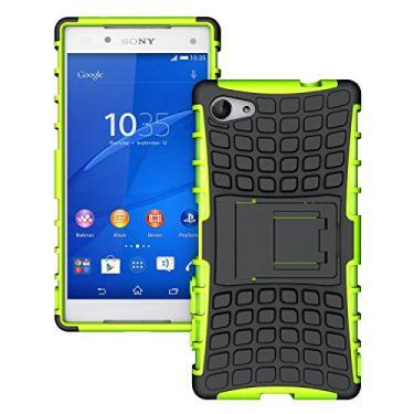 SCIMIN Capa compacta para Sony Xperia Z5, capa para Xperia Z5 Mini, proteção de camada dupla/à prova de choque/resistência a quedas, capa híbrida robusta com suporte para Sony Xperia Z5 de 4,6 polegadas (rosa)