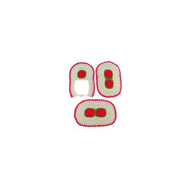 Imagem de Jogo de tapetes de crochê para banheiro com flor 3 peças