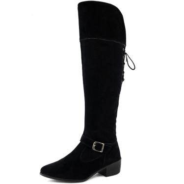 Bota Montaria Feminina Cano Longo SapatoFran Over The Knee Camurça Preto  feminino