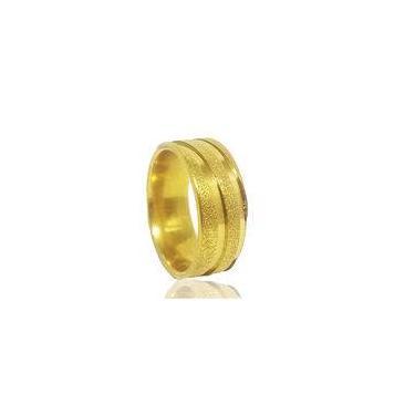 Imagem de Aliança de Namoro em Aço Dourado 8mm Tamanho 27