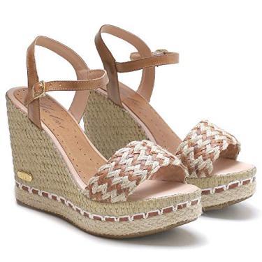 Imagem de Sandália Anabela Plataforma SB Shoes couro/Trança ref. 3227 (35, CARAMELO)