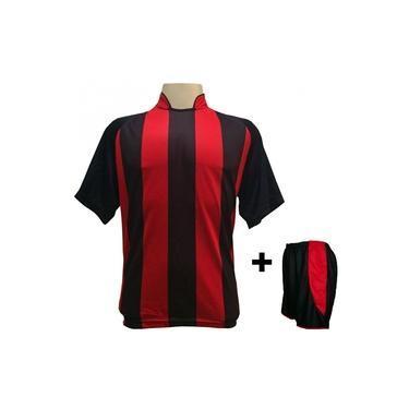Uniforme Esportivo com 18 camisas modelo Milan Preto/Vermelho + 18 calções modelo Copa Preto/Vermelho +