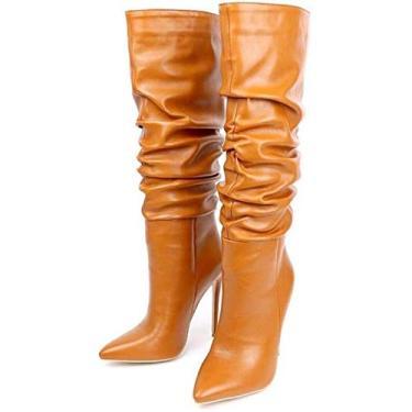 Imagem de PLAYH Botas femininas de cano alto, botas dobradas salto agulha pontiagudo bota feminina cano alto (cor: laranja, tamanho: 34)