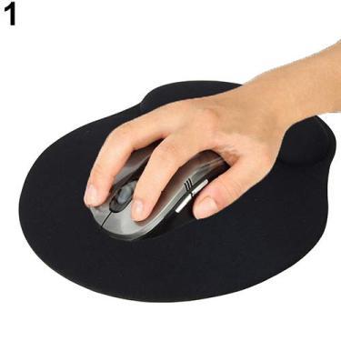 Imagem de Tapete de apoio confortável de pulso macio mouse pad para jogos PC laptop - preto tamanho único Geshiintel