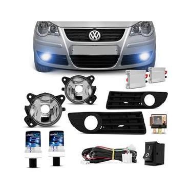 Kit Farol de Milha Polo Hatch Sedan 2008 2009 2010 2011 + Kit Xenon HB4 8000K Azulada