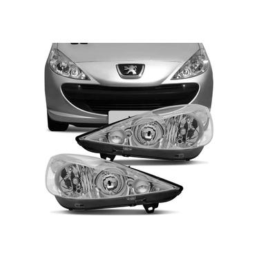 Par Farol Peugeot 207 2007 a 2015 Máscara Cromada Foco Duplo
