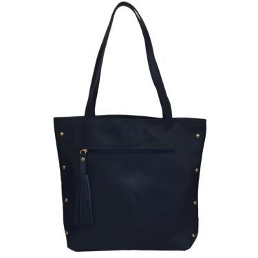 Bolsa  de Couro com Tachas Benévolla  Sacola Azul Marinho  feminino