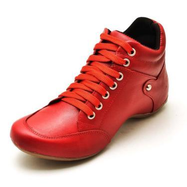 Bota Sport Clube do Sapato de Franca Top Confort Vermelho  feminino