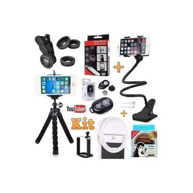Kit Youtuber Profissional Tripé Para Câmera e Celular Iphone Android Universal + Luz Led Anel Ring Light Flash + Suporte de Mesa Articulado + Kit Lentes Controle Bluetooth Original