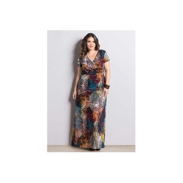 Vestido Plus size Longo Mix De Estampas Marguerite