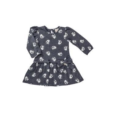 Vestido Infantil Manga Longa Pandinhas Cinza