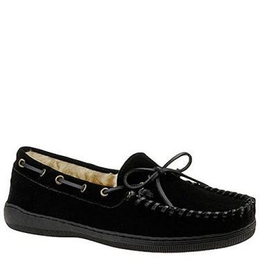 Mocassim masculino Slippers International costurado à mão com bico redondo, Black-suede, 10