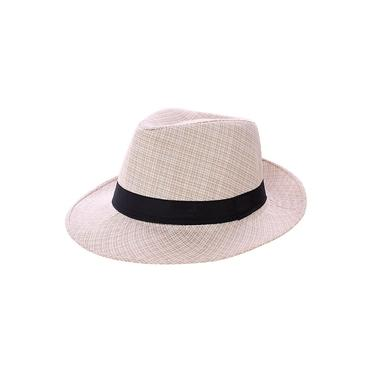 Chapéu Fedora Panamá Liso Masculino Com Fita Decorativa