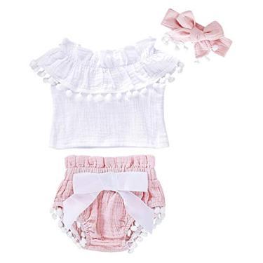 Cotrio Conjunto de roupas para bebês recém-nascidos camiseta infantil para crianças + shorts com capa de fralda roupas de verão com arco de cabelo 0-6 meses rosa