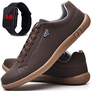 Kit Sapatênis Sapato Casual Com Relógio LED Masculino JUILLI 920DB Tamanho:39;cor:Marrom;gênero:Masculino