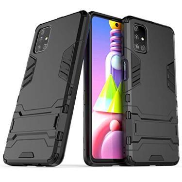 Imagem de SCIMIN Capa híbrida para Samsung Galaxy M51, Galaxy M51 à prova de choque, capa rígida híbrida de proteção de camada dupla com suporte para Samsung Galaxy M51