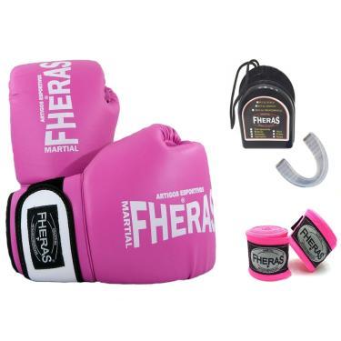 Kit Boxe - Luva Bandagem Bucal -10 oz  Rosa