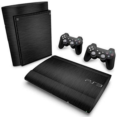 Skin Adesivo para PS3 Super Slim - Aço Escovado Preto
