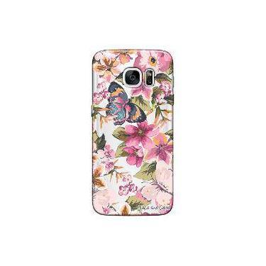 Capa Transparente Personalizada Exclusiva Samsung Galaxy S7 Edge Flores -Tp38