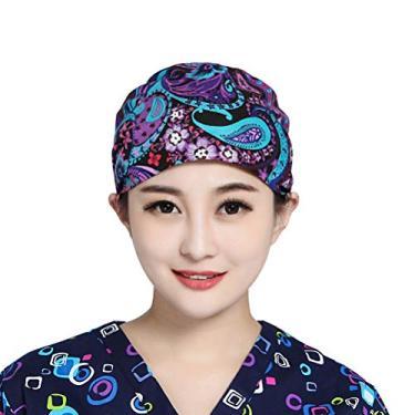 VALICLUD Boné de sala de cirurgia de algodão com impressão de flores Boné de trabalho para senhora feminina (roxo) chapéu