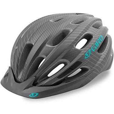 Capacete Ciclismo Bike Feminino Giro Vasona Original (Cinza Escuro Fosco c/Verde)