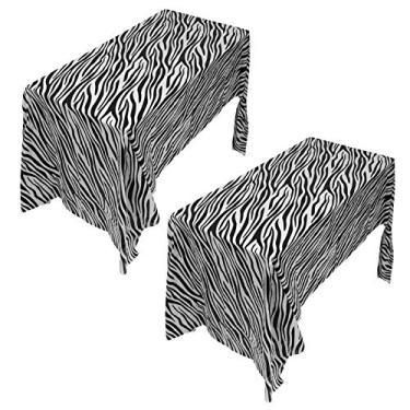 Imagem de ABOOFAN Tablecovers 2Pcs Animal Tema Animal Toalha de Mesa Toalha de Mesa Toalha de Mesa de Jantar À Prova D Água À Prova de Óleo para Aniversários Partido Suprimentos (Zebra