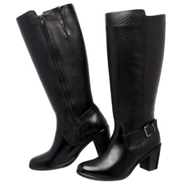 83f1308f21 Pechinchas-19% Bota Art Shoes Montaria Cano Alto Couro Legítimo Ref. 240  Preto feminino