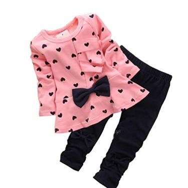 Conjunto de roupas infantis para meninas com estampa floral, conjunto para combinar com as irmãs, rosa, 2-3T