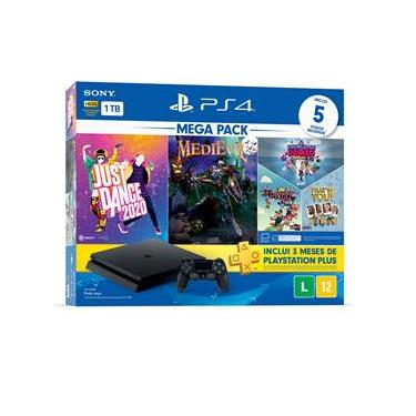 Console Playstation 4 Slim 1TB Bundle 11 + Just Dance 2020 + MediEvil + Jogos PlayLink (Knowledge is Power, Frantics e That's You) + PS Plus 3 Meses