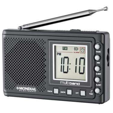 Rádio Portátil Mondial Multi Band II, Rádio AM/FM/SW, Display digital, Funções relógio e alarme