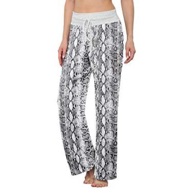 LONGYUAN Calça de pijama feminina confortável casual com elástico e cordão Palazzo Lounge Calça pantalona para todas as estações, Snake Print White, XXL