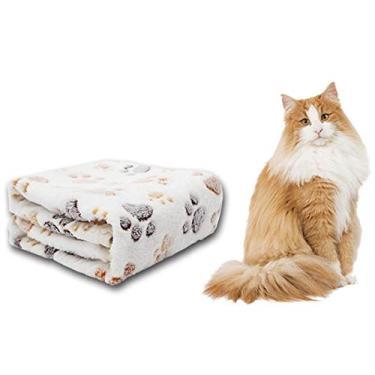 itchoate Tapete de caixa para animais de estimação Almofada de assento de carro para animais de estimação Cama Cobertores de cama para cães e gatos resistentes a garras Cama estofada acolchoada de lã macia lavável - bege e XS