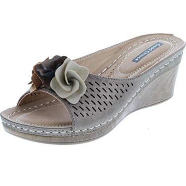 Imagem de G.C. Sandálias femininas de salto plataforma com cadarço da Shoes Sydney Rosette, Bronze, 8.5