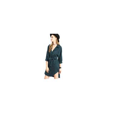Mulheres Vire-down Lace Collar-se Vestido Pullover Curvo Hem Auto Tie Vestido camisa-AhNossa