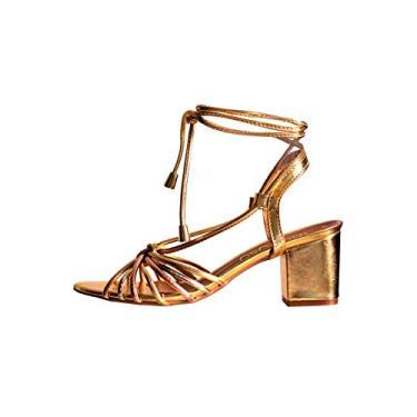 Sandália Ouro Metalizado Com Amarração Tiras Color Salto Grosso Cor:Dourado;Tamanho:38;Gênero:Feminino