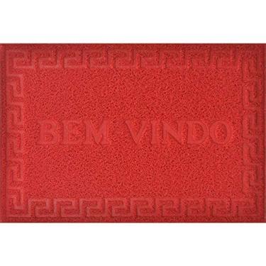 TAPETE PARA PORTA VINYL BEM VINDO 0,40 X 0,60 / NIAZITEX Vermelho